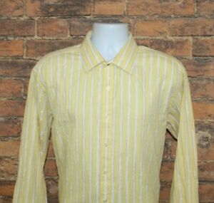 Sean John Mens Dress Shirt Size 17.5 34/35 Regular Fit White Yellow Striped LS