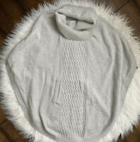 CABI Cowl Neck Cable Knit Gray Sweater Poncho sz Medium