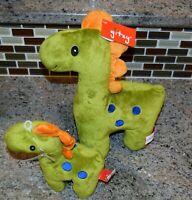 Gitzy Stuffed Animal Dinosaur Plush Toy and Baby Rattle Green