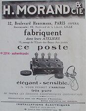 PUBLICITE H. MORAND & CIE POSTE AUDITION RADIOPHONE CONTINENTALE DE 1923 AD PUB