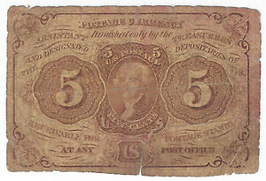 5c 1862 1st Issue Fractional Postage Currency Fr#1230