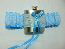 Baby blue hipflask Bridal Wedding garter. hip flask wedding garter.brides