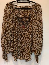 LaROK Cheetah Animal Print Jeweled Semi Sheer Peasant Blouse Top, Medium