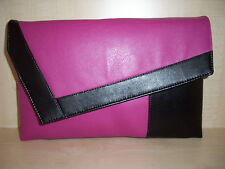 OVER SIZED BLACK & FUCHSIA PINK faux leather  clutch bag, fully lined BN