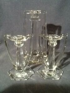 THREE ART DECO EGYPTIAN REVIVAL CLEAR GLASS CANDLESTICKS CANDLEHOLDERS