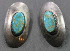 Sterling Silver Southwestern Styled Oval Turquoise Earrings