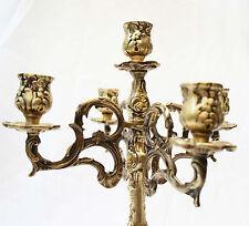 Antique 19th Century Victorian Brass Mantle 5 Light Candelabra