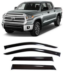 For Toyota Tundra CrewMax 2007- Window Visors Sun Rain Guard Vent Deflectors