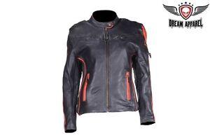 Womens Leather Racer Jacket with Orange Stripes