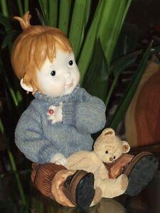 kinderfigur,figur,21x15cm,kind,mädchen,sammler,kinder,teddy,teddybär,handbemalt