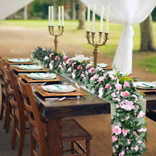 Artificial Rose Garland Fake Silk Flower Table Runner Wedding Party DIY Backdrop