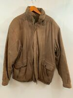 Vintage Stratojac Mens Brown Leather Distressed Full Zip Bomber Jacket Size XL