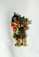 ENAMELED  SCOTSMAN   BAGPIPER -CHARM-MFG. in UNITED KINGDOM  9K  Free Shipping