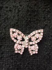 , Pink Stones Brooch , Butterfly, Vintage
