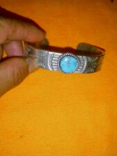 Sterling Silver And Sleeping Beauty Turquoise Native American Cuff Bracelet