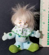 Rare Vintage Green Josef Originals Japan Elf Clown Flocked.
