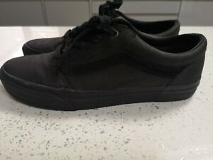 VANS Classic Leather all black shoes UK 8.5 - Keep It Sweet Vintage