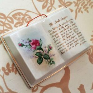 Vintage/Mid Century Small Book Shaped Wall Hanging THE LORD'S PRAYER made Japan