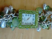 Vintage Beaded bracelet ladies watch, running with new battery NR