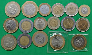 Lot of 17 Different World Foreign Bi-metallic Coins Russia Jordan BU More !!