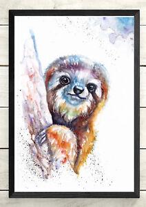 Sloth,Animal Art,Wildlife ,Original watercolour Print, wall art, Art Card,Poster