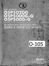 Okuma CNC System Alarm Error List OSP5020G Plus GI-N GPGA-NR GU-S Control Manual