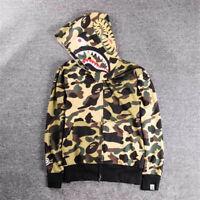 Hot BAPE A Bathing Ape Hoodie Sweats Camo Men's Shark Head Full Zip Coat Jacket*
