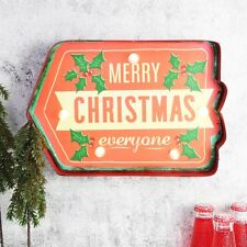 MERRY CHRISTMAS Light up LED bulb Metal Carnival Sign Circus Vintage Retro