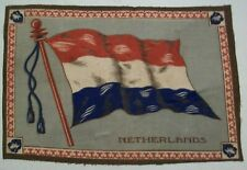 "1900'sl Antique Large Netherlands Flag Tobacco Felt 11"" X 7 1/2"""