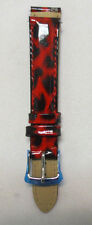 MICHELE WATCH BAND RED CHEETAH PATENT LEATHER BUCKLE MW 14MM NICKLE WOMENS NEW