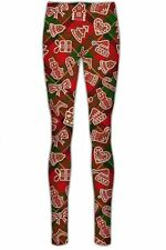 Womens Reindeer Rudolph Head Santa Elf Christmas Xmas Stretchy Leggings Pant Red Green Tartan Candy Stick UK 16-18