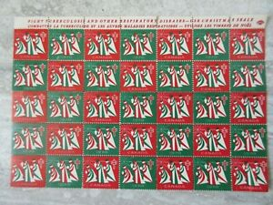 Full Sheet of Seventy 1970 Canada Tuberculosis Christmas Stamps Seals