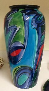 Colourful Hand Painted Art Design Vase