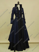 Victorian Edwardian Game of Thrones Coat Dress Theater Steampunk Wear Navy N 176