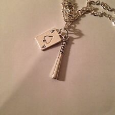 """Harley Quinn Inspired Ace Of Spades Playing Card  & Baseball Bat 18"""" Necklace"""