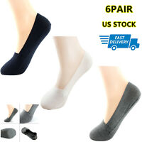 6PAIR Unisex Low Cut Sock Invisible No Show Nonslip Loafer Lace Boat Liner 6-9