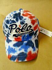 NEW Polo Ralph Lauren Tie Dye Cotton Twill Cap Baseball Hat Americana Blue/Red