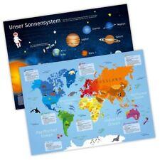 A3 Tischset/ Platzset mit Lerneffekt Weltkarte + Sonnensystem Schule Kind