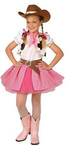 GIRLS PINK WESTERN COWGIRL 3 PC COSTUME DRESS & HAT LF4008