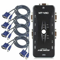 USB 2.0 4 Port Monitor VGA SVGA KVM Switch Box + 4 Cables for PC Keyboard Mouse