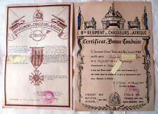 DIPLÔME MÉDAILLE CITATION 8° RCA WWII CHASSEURS AFRIQUE LIBERATION 1945 + Certif