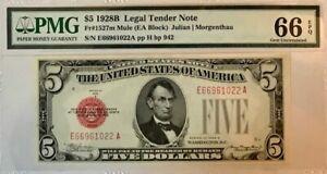 USA - Legal Tender Note - $5 - 1928B - MULE - Fr-1527m - PMG 66 EPQ - GEM UNC.