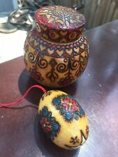 "2 pc Polish Wood Round Box 3"" & Egg Art Carved Jar Pyrography from Poland"