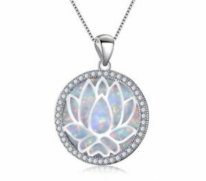 Beautiful White Fire Opal 925 Sterling Silver Filled Lotus Necklace & Chain 40cm