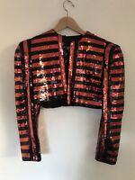 VTG VICTOR COSTA Red Black Striped Bolero Shrug Evening Wear SZ Small
