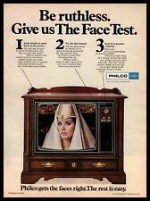 1968 Philco Color TV Big Screen Cabinet Console Tube Television Vintage Print Ad