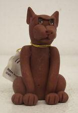 1985 - 1990 Cecile Bairde Clay Dog Figurine Miniature Pinscher Signed 45133
