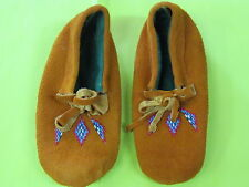NATIVE AMERICAN BEADED CHILD MOCCASINS LINED 9 INCHES MULTICOLORED