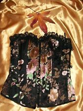 Todays Woman multi floral boned silk mix basque with bead & lace trim 10