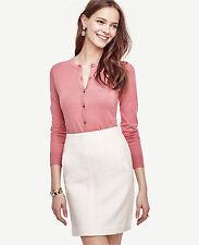 Ann Taylor Cardigan XSP Pink Blush Rose Signature Cotton Crew Neck Long Sleeve